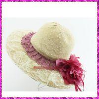 夏天草帽批发 女式田园花朵翻边大沿帽旅游帽 沙滩遮阳帽太阳帽子