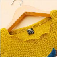 韩版2014秋装新款女装圆领波浪边卡通图案上衣衬衫