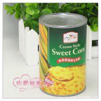 供应怡泰批发 地豪牌超甜玉米羹罐头 410g1*24/件 整件75元
