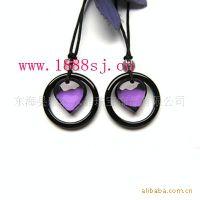 紫水晶黑玛瑙心心相印情侣挂件,水晶吊坠,水晶礼品,