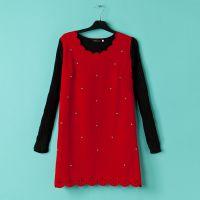 L16外贸原单大码胖MM女装激光雕花边钉珠毛线袖毛呢连衣裙