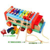 叮当木木质多功能动物拖拉车八音琴卡通手敲琴 儿童益智木制玩具