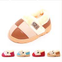儿童2015冬季新款宝宝毛绒棉鞋色彩拼接格子耐磨防滑室外保暖棉鞋