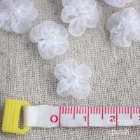 DIY手工花朵服装辅料 白色网纱珠珠梅花小花补丁贴布贴
