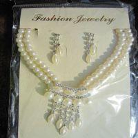 批发婚庆饰品 新娘结婚套链 双排珍珠项链耳环两件套装饰品批发