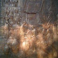 玻璃钢清明上河图仿铜浮雕 古代文化人物生活景象场景制作雕塑定制