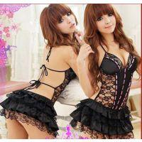 外贸热卖 粉色丝带黑色芭比情趣内衣连衣裙后露背蛋糕裙一件代发