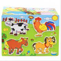 儿童木制卡通拼图 穿线拼板益智力穿绳拼图 动物拼图 趣味玩具