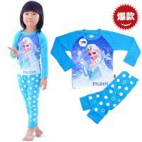 外贸童装Frozen冰雪奇缘艾莎Elsa儿童套装纯棉睡衣家居服2-7岁
