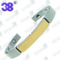 供应316不鏽鋼鑲磁石鍍金手环 健康保健手镯