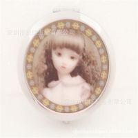 3D创意折叠镜子厂家 金属礼品化妆镜 便携双面1:2梳妆美容镜