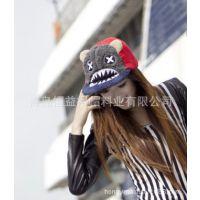 2015时尚冬季新款卡通大嘴鲨鱼毛绒平沿帽 女士棒球帽嘻哈帽子女