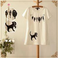 盛夏新款森女系小清新可爱小猫咪偷鱼吃图案纯棉短袖T恤
