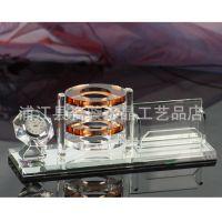 【厂家直销】水晶笔筒三件套 办公用品 商务礼品  公司礼品定制