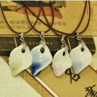 ***景德镇陶瓷饰品 水晶裂纹项链 多色叶子吊坠中国特色 批发
