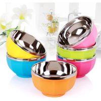 厂家直销不锈钢彩色碗塑料碗 双层隔热防烫儿童米饭碗八角碗 礼品