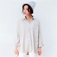2015年韩国stylenanda代购时尚格子格纹中性男友风宽松衬衣衬衫
