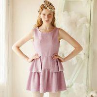 欧美风2015新款女装毛呢连衣裙无袖背心裙纯色圆领呢子裙子Z25084