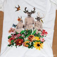 批发学院风爆款森女装麋鹿圆领短袖T恤小鹿休闲OL个性来图样定做