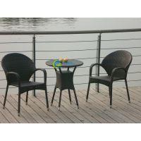 贵州阳台藤椅休闲三件套 PE仿藤桌椅