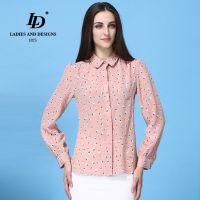 LD2014新款重磅桑蚕丝真丝衬衫女 长袖欧美印花丝绸衬衣上衣14058