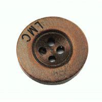 厂家供应 天然时尚木头钮扣 四眼宽边刻字扣