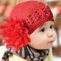 雪纺大花朵公主帽/纯棉纯手工编织儿童帽/婴儿帽 帽子批发