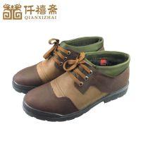 2014冬季新款男士棉鞋 休闲加绒保暖系带中老年男鞋 老北京棉鞋男