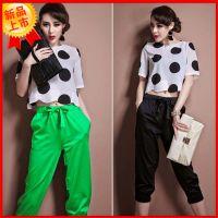 供应韩版短袖波点雪纺上衣系+裤子女两件套装一件代发免费代理加盟