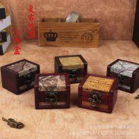 爆款厂销仿古木质小方盒 欧式复古木制收纳盒子 纯手工做旧工艺品