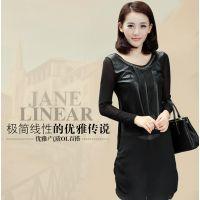 韩版2014秋装新款女装圆领pu皮长袖雪纺链条连衣裙