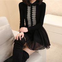 2014秋冬装新款韩版中长款修身拼接蕾丝裙针织方领连衣裙女装