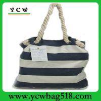 深圳帆布包厂家 订做时尚条纹沙滩袋 手提帆布袋 可加印LOGO
