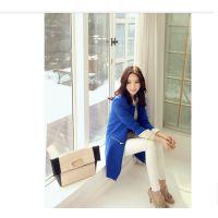 特价!2014秋女装韩版中长款小西装外套立领撞色小西服西装