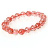 西瓜红水晶手链 8mm女款 草莓水晶手串 纯天然水晶饰品 一件代发