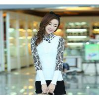 供应2013新款女装 韩版修身品牌气质花色长袖荷叶领蕾丝衫