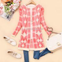 韩版2014新款秋装女装圆领菱形格子毛衣开衫外套
