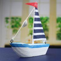 实木帆船 地中海家居摆件 棉布小帆船木质玩具模型 创意礼物礼品