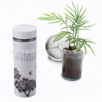 印制logo广告杯 花开富贵陶瓷保温杯批发 304不锈钢真空随行杯