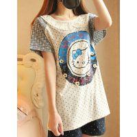 2014新款森女日系娃娃领印花可爱猫咪点点插肩袖短袖T恤