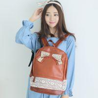 2014新款时尚双肩包韩版蝴蝶结PU皮女双肩包可爱甜美学生包批发