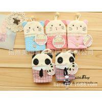 萌韩国布艺超可爱格子抽拉式卡通熊猫猫咪钥匙包/钥匙扣创意礼品