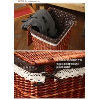 金柳家居藤编脏衣篮脏衣服收纳盒筐篮收纳箱储物箱有盖整理箱