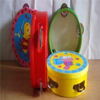 批发供应木制儿童玩具卡通手摇皮铃鼓玩乐器幼儿园教具花铃鼓特价
