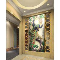 供应瓷砖背景墙厂家直销入户中式瓷砖玄关背景墙孔雀