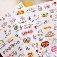 160韩版礼品文具创意可爱猫咪diy日记贴纸 透明装饰贴纸卡通贴