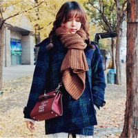 1209 韩国yubsshop代购冬季英伦风格子简单格纹翻领双排扣呢大衣