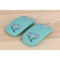 小象有线苹果鼠标 女生***爱超薄光电鼠标 办公游戏专用鼠标