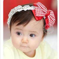双层格子蝴蝶结儿童发带/婴儿发饰发带/韩国宝宝头带