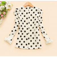 韩版2014新款秋装女装花瓣圆领波点修身衬衫上衣